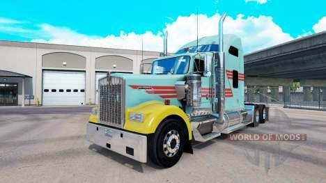 Скин Z Stripe Multicolor на тягач Kenworth W900 для American Truck Simulator