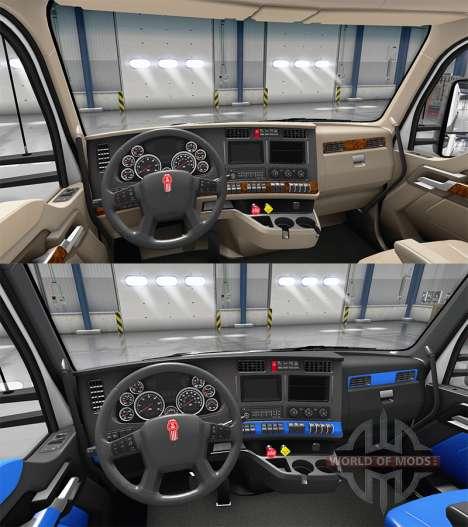 Синий интерьер Kenworth T680 для American Truck Simulator