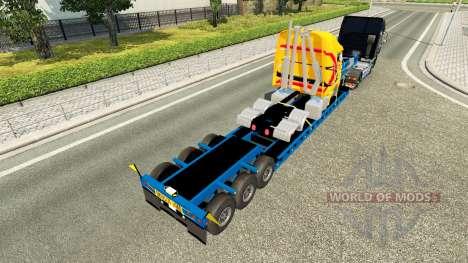 Низкорамный трал с разбитым грузовиком для Euro Truck Simulator 2