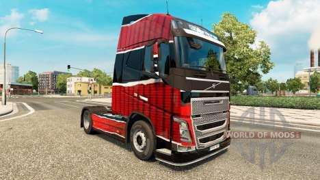Скин Piel Rojo Negro на тягач Volvo для Euro Truck Simulator 2