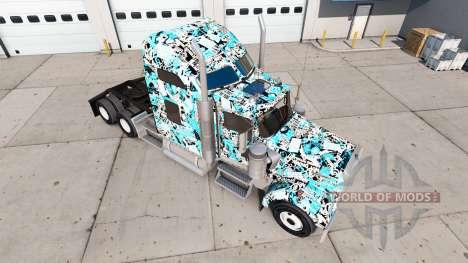 Скин Stickerbomb на тягач Kenworth W900 для American Truck Simulator