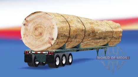 Полуприцеп с грузом ствола дерева для American Truck Simulator