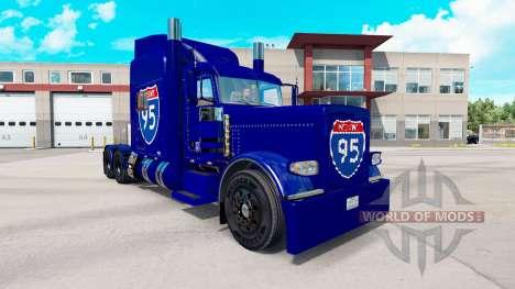Скин Interstate 95 на тягач Peterbilt 389 для American Truck Simulator