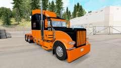 Скин Black and Orange на тягач Peterbilt 389
