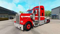 Скин Red with White Stripe на тягач Kenworth