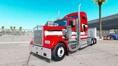 Скин Red and White на тягач Kenworth W900