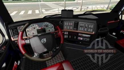 Чёрно-красный интерьер Volvo для Euro Truck Simulator 2