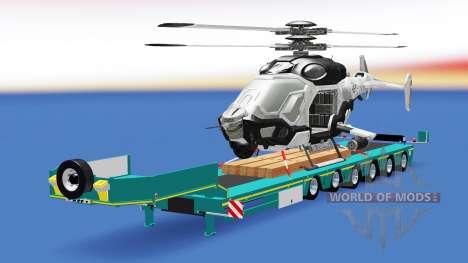 Низкорамный трал с грузом вертолёта AH-50 C.E.L. для American Truck Simulator