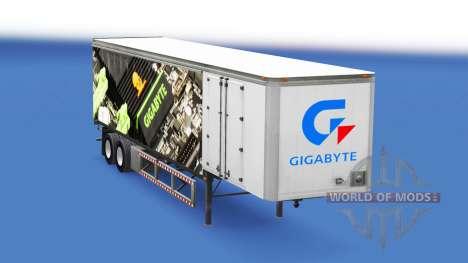 Скин Gigabyte на шторный полуприцеп для American Truck Simulator