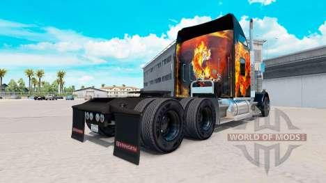 Скин Tigers In Flames на тягач Kenworth W900 для American Truck Simulator