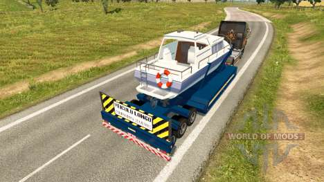 Низкорамный трал с яхтой для Euro Truck Simulator 2