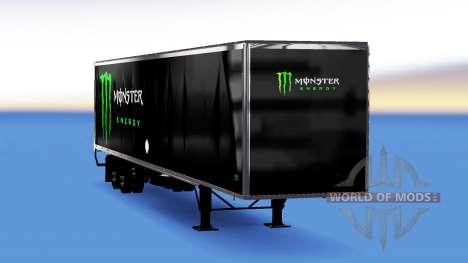 Цельнометаллический полуприцеп Monster Energy для American Truck Simulator