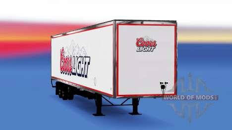 Цельнометаллический полуприцеп Coors Light для American Truck Simulator