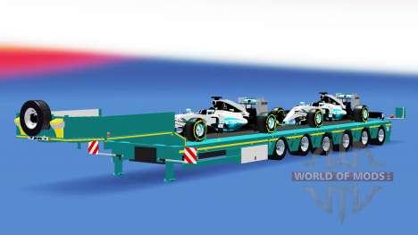 Низкорамный трал с грузом формульный болидов для American Truck Simulator