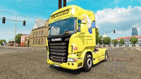 Скин Homer Simpsons на тягач Scania для Euro Truck Simulator 2