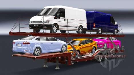Полуприцеп-автовоз с автомобилями Audi и Ford для Euro Truck Simulator 2