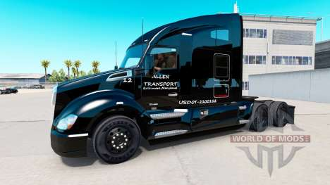 Скин Allen Transport на тягач Kenworth для American Truck Simulator
