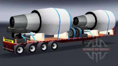 Полуприцеп-площадка с авиадвигателями для American Truck Simulator