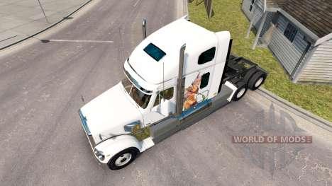 Скин Anime fighting girls на тягач Freightliner для American Truck Simulator