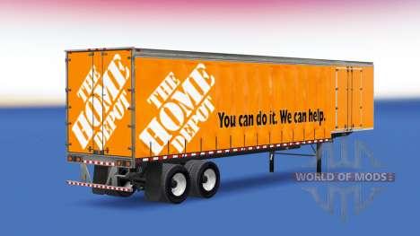 Шторный полуприцеп Home Depot для American Truck Simulator
