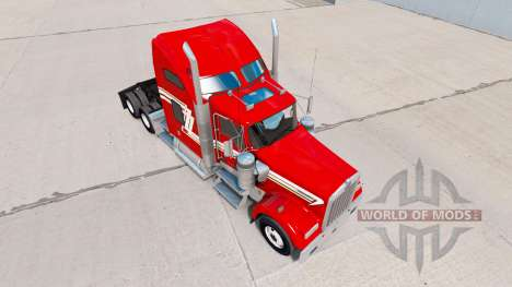 Скин Red and Cream на тягач Kenworth W900 для American Truck Simulator