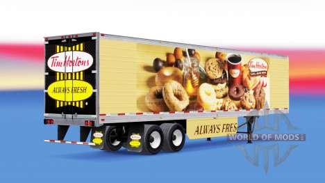 Скин Tim Hortons на рефрижераторный полуприцеп для American Truck Simulator