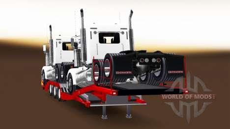 Низкорамный трал с грузом седельных тягачей для American Truck Simulator