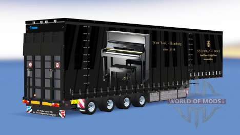 Четырёхосный шторный полуприцеп v1.1.1 для American Truck Simulator