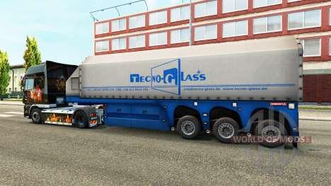 Скин Techno-Glass на полуприцеп-стекловоз для Euro Truck Simulator 2