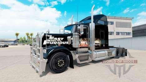 Скин Fast and Furious на тягач Kenworth W900 для American Truck Simulator