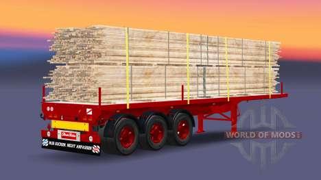 Полуприцеп-площадка с грузом досок для Euro Truck Simulator 2