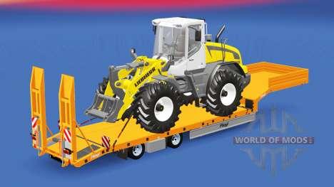 Низкорамный трал Fliegl с различными грузами для American Truck Simulator