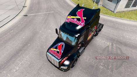 Скин St. Louis Cardinals на тягач Peterbilt для American Truck Simulator