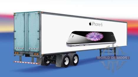 Цельнометаллический полуприцеп iPhone 6 для American Truck Simulator