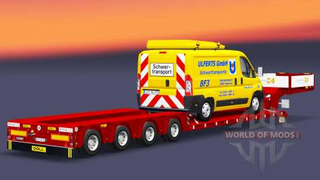 Низкорамный трал Doll с грузом фургона для Euro Truck Simulator 2