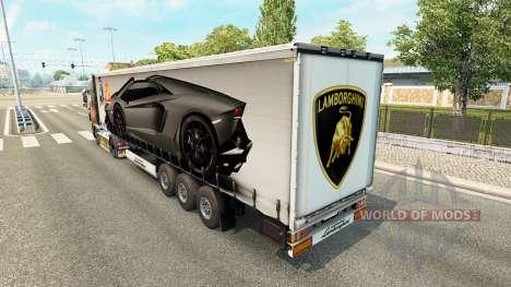 Скин Lamborghini Aventador на полуприцеп для Euro Truck Simulator 2