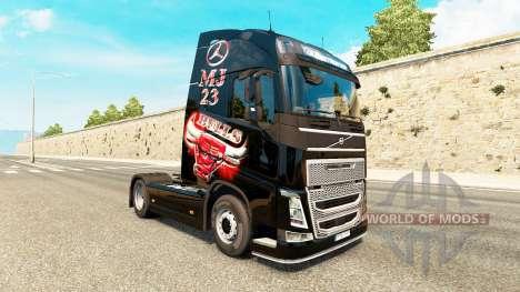 Скин MJBulls на тягач Volvo для Euro Truck Simulator 2