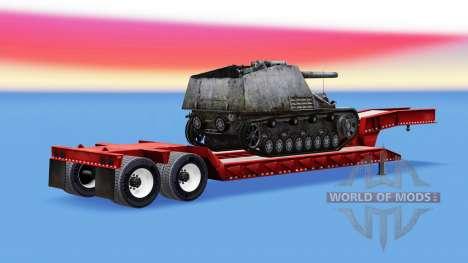 Низкорамный трал с грузом SPG Hummel для American Truck Simulator