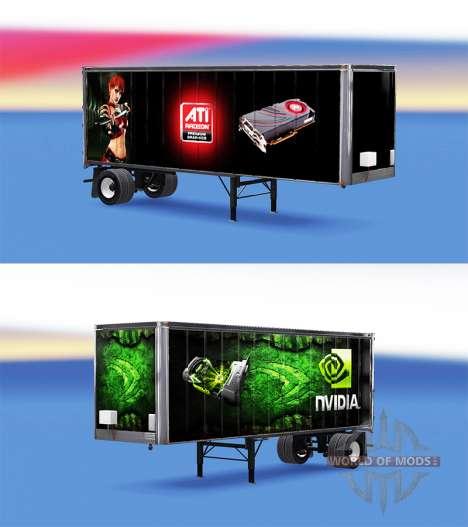 Скины ATi Radeon & Nvidia GeForce на полуприцеп для American Truck Simulator