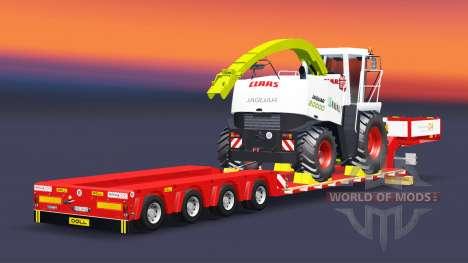 Низкорамный трал Doll с грузом комбайна для Euro Truck Simulator 2