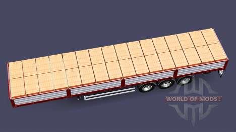Бортовой полуприцеп с грузом кирпичей для Euro Truck Simulator 2