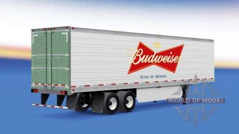 Скин Budweiser на рефрижераторный полуприцеп для American Truck Simulator