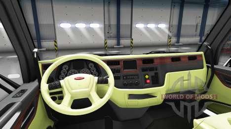 Кремовый интерьер Peterbilt 579 для American Truck Simulator