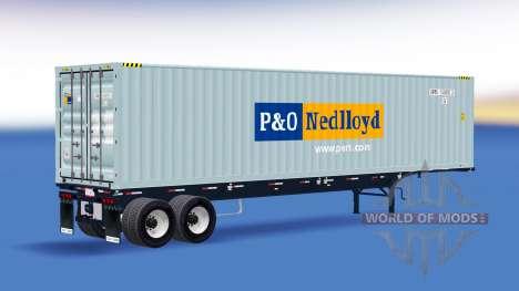 Полуприцеп со 40-футовым контейнером для American Truck Simulator