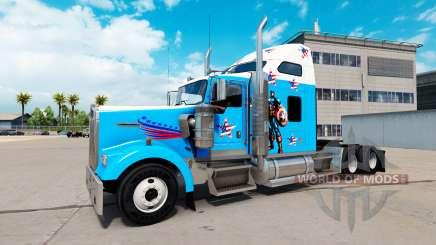 Скин Captain America на тягач Kenworth W900 для American Truck Simulator