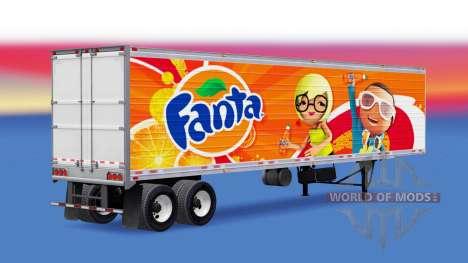 Скин Fanta на полуприцеп-рефрижератор для American Truck Simulator