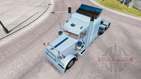 Скин Blue-white stripes на тягач Peterbilt 389 для American Truck Simulator