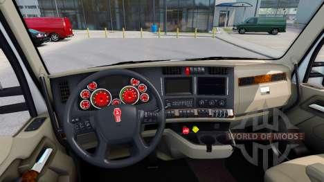 Красный окрас приборов у Kenworth T680 для American Truck Simulator