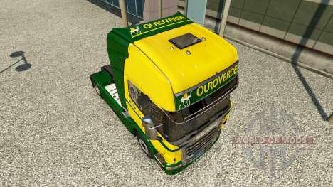 Скин Ouro Verde Transportes на тягач Scania для Euro Truck Simulator 2