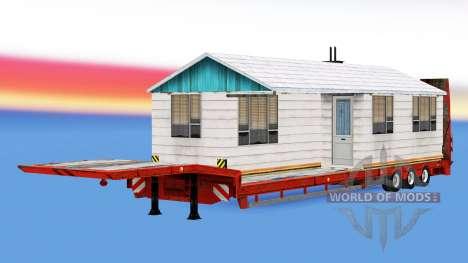 Низкорамный трал с тяжёлыми грузами для American Truck Simulator